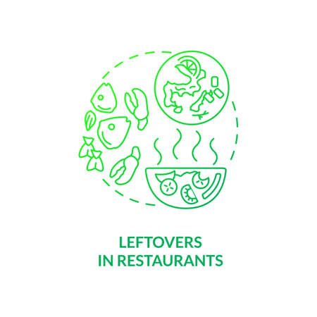 Leftovers in restaurants concept icon. Food waste type idea thin line illustration. Uneaten food from meals. Oversized portions. Extensive menu choices. Vector isolated outline RGB color drawing