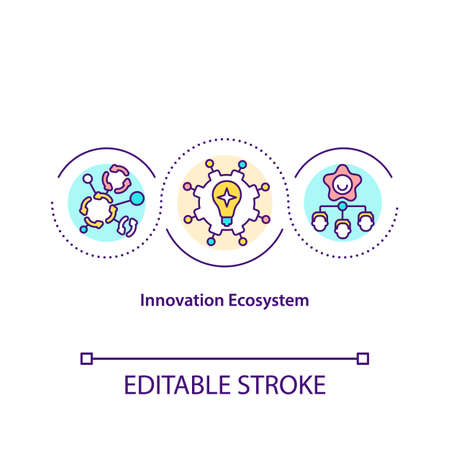 Innovation ecosystem concept icon. Co create development at the enterprise idea thin line illustration. Sectoral innovation systems. Vector isolated outline RGB color drawing. Editable stroke