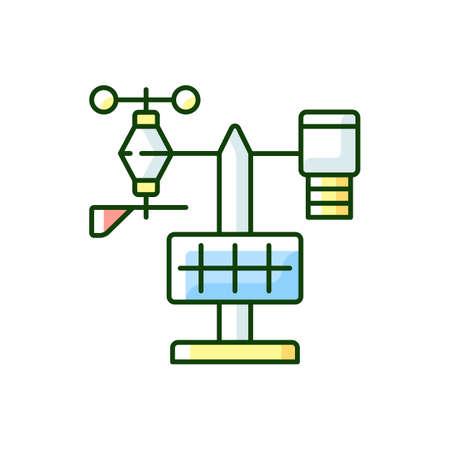 Weather stations RGB color icon. Agriculture meteo analysis. Optimal farming conditions. Weather data. Environmental monitoring. Isolated vector illustration
