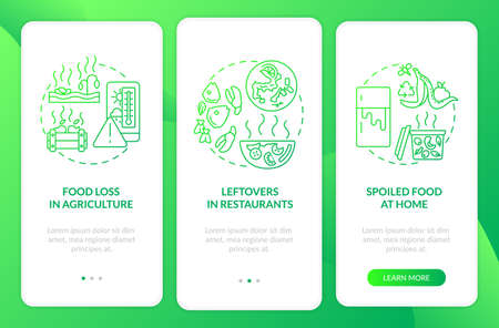 Food waste sorts onboarding mobile app page screen with concepts. Cafe leftovers, spoiled food walkthrough 3 steps graphic instructions. UI vector template with RGB color illustrations