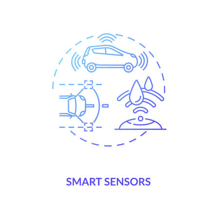 Smart sensors concept icon. Industry 4.0 trend idea thin line illustration. Enhancing reliability and control. Data gathering and self-diagnostics features. Vector isolated outline RGB color drawing