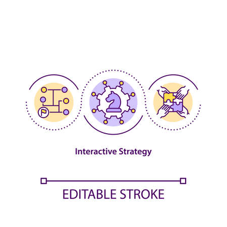 Interactive strategy concept icon. Strategic marketing plan idea thin line illustration. Strategy is the art of creating value. Vector isolated outline RGB color drawing. Editable stroke