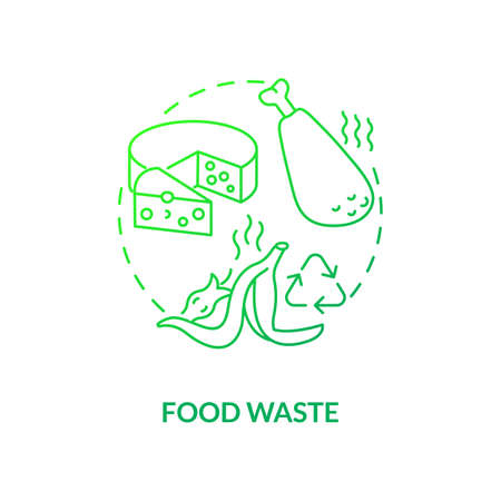 Food waste concept icon. Organic waste type idea thin line illustration. Food loss, leftovers. Fertilizer, animal feed. Preventing pollution. Vector isolated outline RGB color drawing 矢量图像