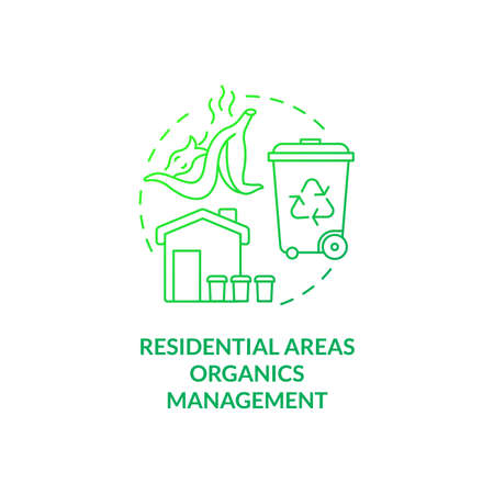 Residential areas organics management concept icon. Organic waste diversion idea thin line illustration. Yard trimmings, food-soiled paper managing. Vector isolated outline RGB color drawing