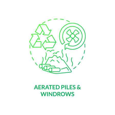 Aerated piles and windrows concept icon. Composting method idea thin line illustration. Enhancing passive aeration. Outdoor windrow composting operations. Vector isolated outline RGB color drawing