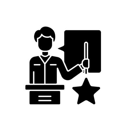 Knowledgeable presenter black glyph icon. Lecturer near the blackboard tells. Workshop. Man expresses thoughts. Holds star. Silhouette symbol on white space. Vector isolated illustration Vector Illustratie
