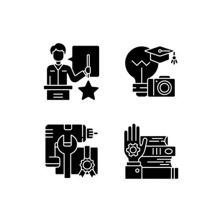Knowledgeable presenter black glyph icons set on white space. Photography workshop. Workshop icons. Mastery development. On-demand webinar. Silhouette symbols. Vector isolated illustration