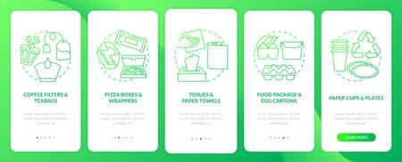 Food-spoiled paper-based waste onboarding mobile app page screen with concepts. Tissues, wrappers walkthrough 5 steps graphic instructions. UI vector template with RGB color illustrations