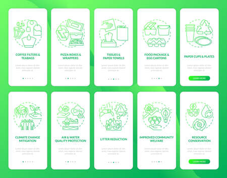 Biodegradable waste reducing onboarding mobile app page screen with concepts set. Welfare, conservation waste walkthrough 5 steps graphic instructions. UI vector template with RGB color illustrations Vecteurs