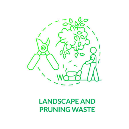 Landscape and pruning waste concept icon. Organic waste type idea thin line illustration. Green refuse. Yard trimming waste. Shrubs and bushes trimmings. Vector isolated outline RGB color drawing