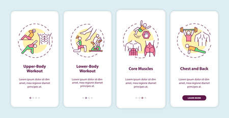 Workout types onboarding mobile app page screen with concepts. Upper-body, lower-body workout, core muscles walkthrough 4 steps graphic instructions. UI vector template with RGB color illustrations