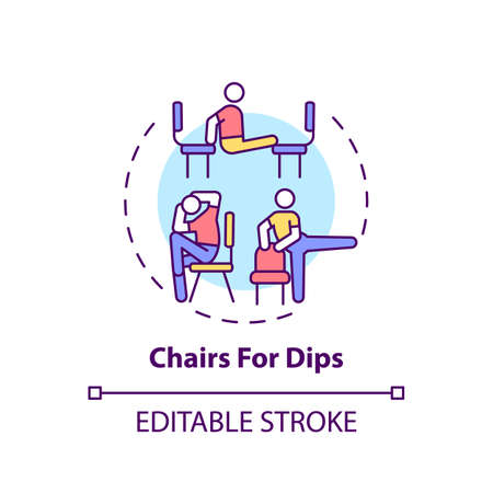 Chairs for dips concept icon. Gym exercise alternative idea thin line illustration. Extending elbow, forearm. Chest-strengthening exercises. Vector isolated outline RGB color drawing. Editable stroke