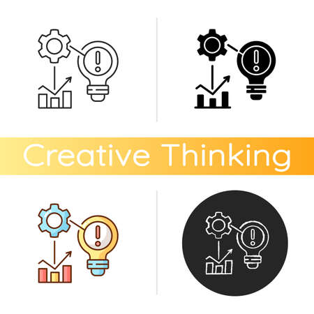 Identifying problems icon. Root cause analisys. Creativity development. Creative thinking. Contemporaty ways of solving problems. Linear black and RGB color styles. Isolated vector illustrations