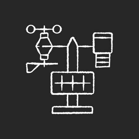 Weather stations chalk white icon on black background. Agriculture meteo analysis. Optimal farming conditions. Weather data. Environmental monitoring. Isolated vector chalkboard illustration