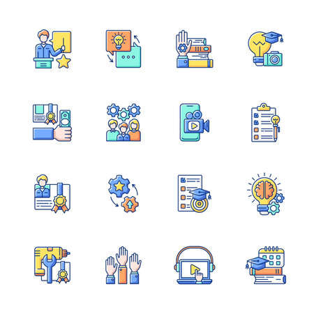 Workshop RGB color icons set. Knowledgeable presenter. Getting new practical skills Sharing experience. Details of training practice. Workshop certificate. Isolated vector illustrations Vector Illustratie
