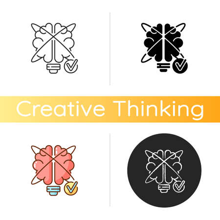 Creative problem solving icon. Improving creative thinking. Contemporary skill. Innovation reasoning. Creative thinking Linear black and RGB color styles. Isolated vector illustrations