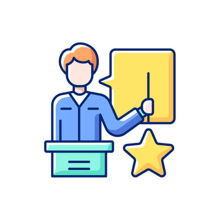Knowledgeable presenter RGB color icon. Lecturer near the blackboard tells. Getting new practical skills. Workshop. Man expresses thoughts. Holds star. Isolated vector illustration Vector Illustratie