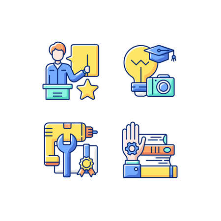 Knowledgeable presenter RGB color icons set. Photography workshop. Getting new practical skills. Workshop icons. Mastery development. On-demand webinar. Isolated vector illustrations
