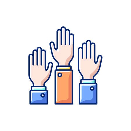 Participation RGB color icon. Taking part in proffesional workshops. Getting new practical skills. Active position. Hands raised up. hands-on learning. Isolated vector illustration Vecteurs