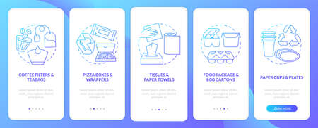 Food-spoiled paper waste onboarding mobile app page screen with concepts. Paper towels, package, egg cartons walkthrough 5 steps graphic instructions. UI vector template with RGB color illustrations