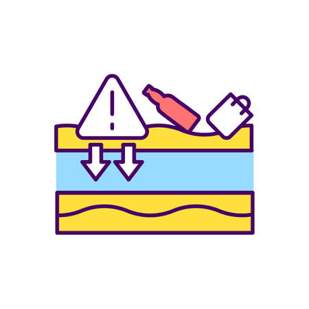 Runoff pollution RGB color icon. Surface water sources protection. Contamination, emissions. Lakes and streams water quality. Industrial activities. Beach clean-up. Isolated vector illustration
