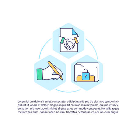 Initiation contract process concept icon with text. Negotiation, execution. Lifecycle management. PPT page vector template. Brochure, magazine, booklet design element with linear illustrations Иллюстрация
