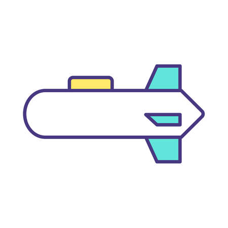 Torpedo RGB color icon. Underwater ranged weapon. Launching from submarine, surface vessel. Self-propelled cylindrical explosive projectile. Underwater vehicle. Isolated vector illustration