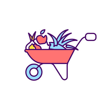 Yard trimming RGB color icon. Horticultural practice. Fruit harvesting. Grass, leaves, tree and brush trimmings. Removing grass clippings, branches from trees. Isolated vector illustration Vecteurs