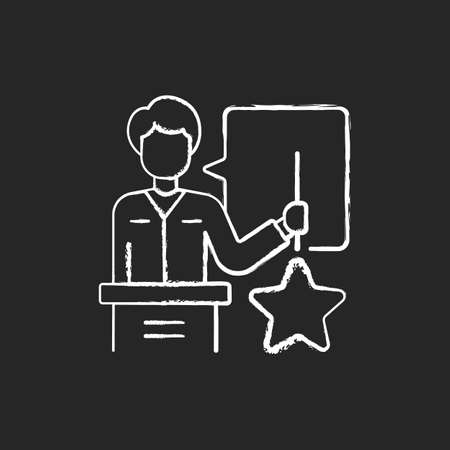 Knowledgeable presenter chalk white icon on black background. Lecturer near the blackboard tells. Workshop. Man expresses thoughts. Holds star. Isolated vector chalkboard illustration