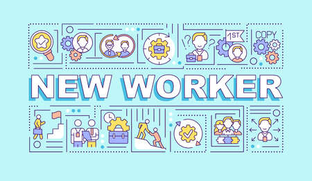 New worker word concepts banner. HR management. Employee adaptation. Infographics with linear icons on turquoise background. Isolated typography. Vector outline RGB color illustration