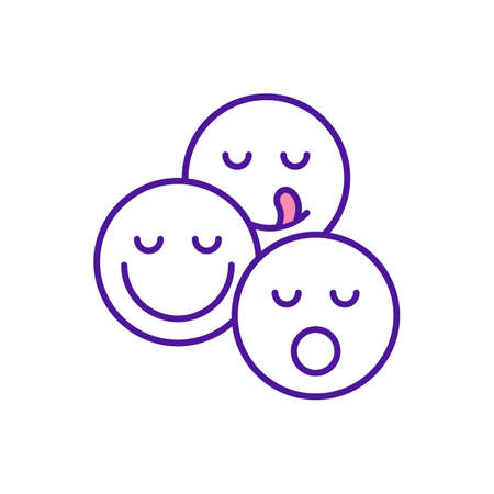 Emotional intelligence RGB color icon. Facial expression. Social ability and empathy for children. Baby, infant learning communication. Early childhood development. Isolated vector illustration
