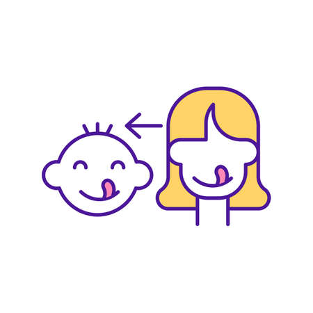 Baby copy facial expression RGB color icon. Developmental milestone for infant. Early childhood development stage. Parent with child. Emotional intelligence in kids. Isolated vector illustration