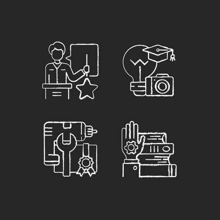 Knowledgeable presenter chalk white icons set on black background. Photography workshop. Workshop icons. Mastery development. On-demand webinar. Isolated vector chalkboard illustrations