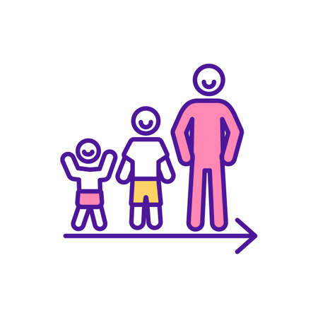 Person growing up RGB color icon. Happy baby. Successful growth. Result of childcare, parenting. Maturing process. From early childhood development to adulthood. Isolated vector illustration