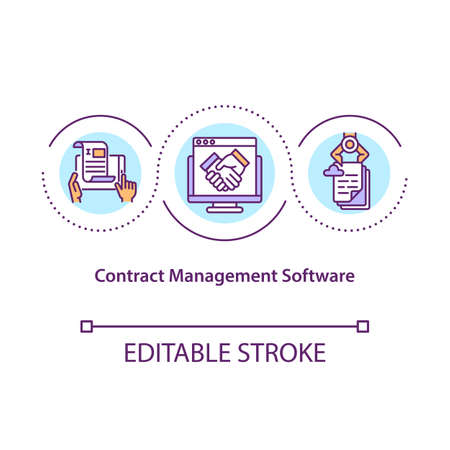 Contract management software concept icon. Managing agreements from unified workspace idea thin line illustration. Creation, negotiation. Vector isolated outline RGB color drawing. Editable stroke
