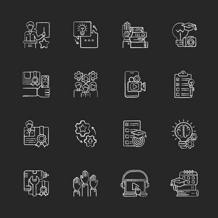 Workshop chalk white icons set on black background. Knowledgeable presenter. Sharing experience. Details of training practice. Workshop certificate. Isolated vector chalkboard illustrations