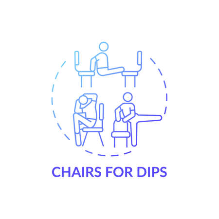 Chairs for dips concept icon. Gym exercise alternative idea thin line illustration. Working triceps on upper arms back. Getting strong chest, shoulders. Vector isolated outline RGB color drawing Vector Illustration