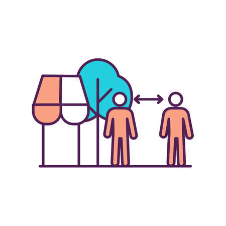Social distancing outside shop RGB color icon. Healthcare guidelines for supermarket customers. Distance between people. Stay apart. Avoid spreading disease. Isolated vector illustration