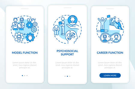 Functions of mentor onboarding mobile app page screen with concepts. Improving job skills. Career in company walkthrough 3 steps graphic instructions. UI vector template with RGB color illustrations
