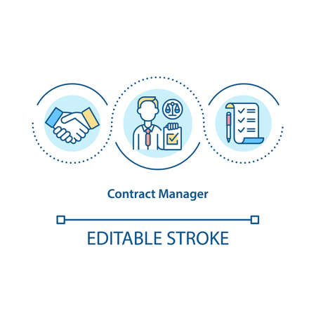 Contract manager concept icon. Focusing on contracting process idea thin line illustration. Business career. Contract administration. Vector isolated outline RGB color drawing. Editable stroke Stock Illustratie