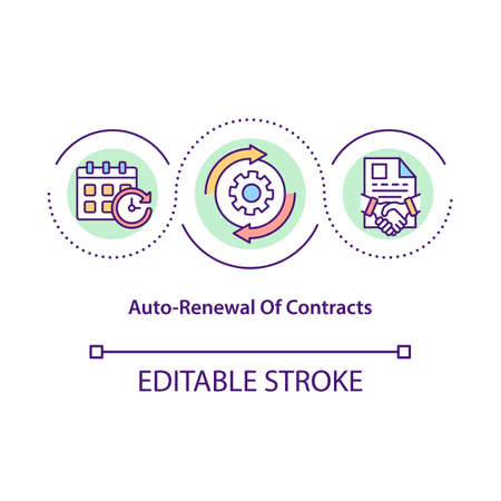 Contracts auto-renewal concept icon. Contractual period idea thin line illustration. Automatic renewal provisions. Contract restarting. Vector isolated outline RGB color drawing. Editable stroke