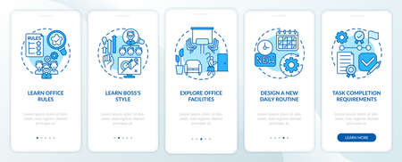 Entering workplace onboarding mobile app page screen with concepts. Learning facilitites of office of walkthrough 5 steps graphic instructions. UI vector template with RGB color illustrations
