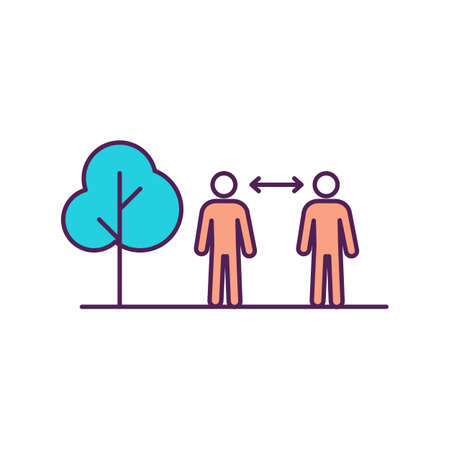 Social distance RGB color icon. Healthcare guidelines. Gap distance between people. Stay apart. Avoid spreading disease. Outside location. Stand outdoors. Isolated vector illustration