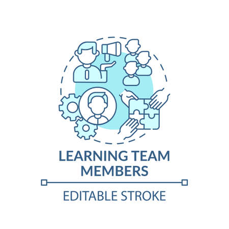 Collaborative learning concept icon. Worker adaptation stages. Methods of making decisions and solving problems idea thin line illustration. Vector isolated outline RGB color drawing. Editable stroke