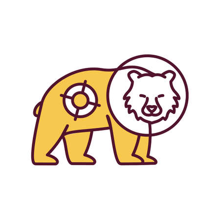 Shine wild animal with spotlight RGB color icon. Harming mammal with light beam. Disturbing bear at night. Animal welfare and protection from abuse. Wildlife conservation. Isolated vector illustration