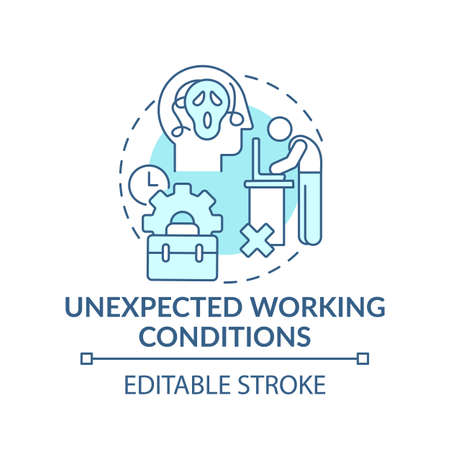 Emotional burden concept icon. Unexpected working conditions idea thin line illustration. Work hate and responsibilities. Vector isolated outline RGB color drawing. Editable stroke