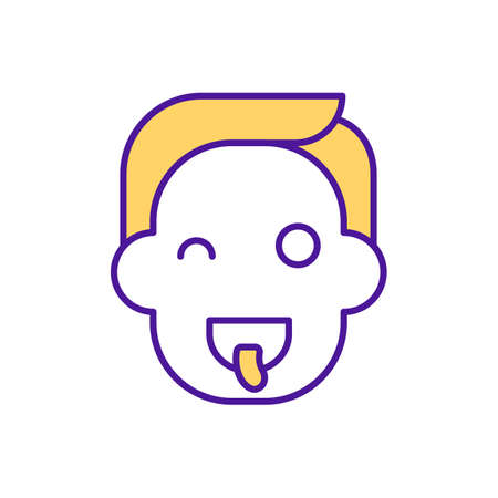Entertainment RGB color icon. Boy having fun. Man showing tongue. Playing games. Child mocking and teasing. Preschool leisure time. Early childhood development. Isolated vector illustration