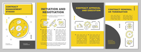 Contract management stages brochure template. Negotiation, execution. Flyer, booklet, leaflet print, cover design with linear icons. Vector layouts for magazines, annual reports, advertising posters