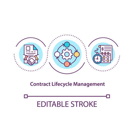 Contract lifecycle management concept icon. Contract processes automation idea thin line illustration. Standardizing and controlling. Vector isolated outline RGB color drawing. Editable stroke