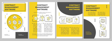 Contract management software brochure template. Executing, signing. Flyer, booklet, leaflet print, cover design with linear icons. Vector layouts for magazines, annual reports, advertising posters